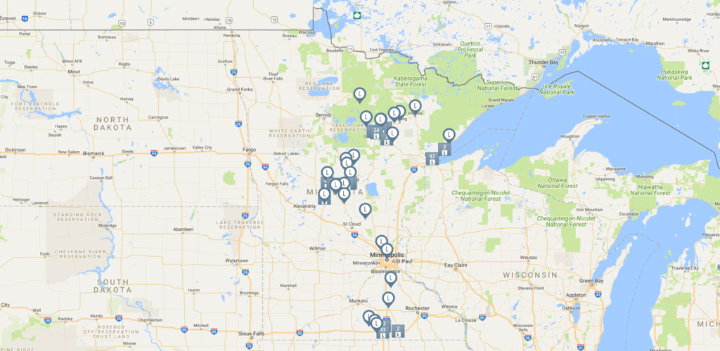 Google map of Leaders Partnering to End Poverty program participants across Minnesota